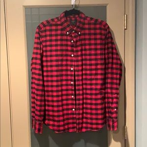 J Crew Oxford Red and Blue Plaid Shirt